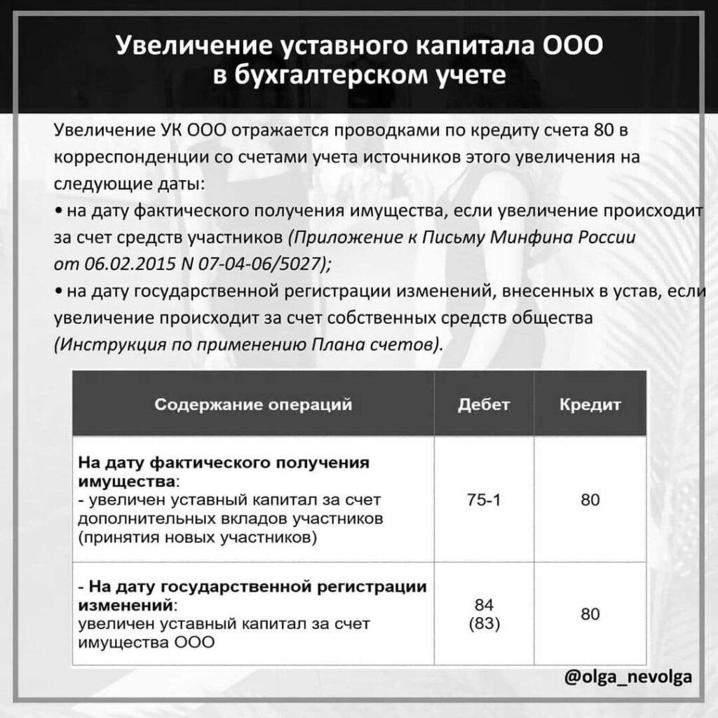 Увеличение уставного капитала ООО в бухгалтерском учете