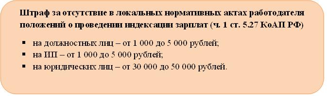 Штраф за отсутствие положений об индексации зарплаты